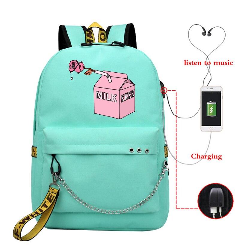 Leite rosa estética mochilas adolescentes mulheres sacos de escola mochila de carregamento usb meninas kawaii viagem mochila coreana