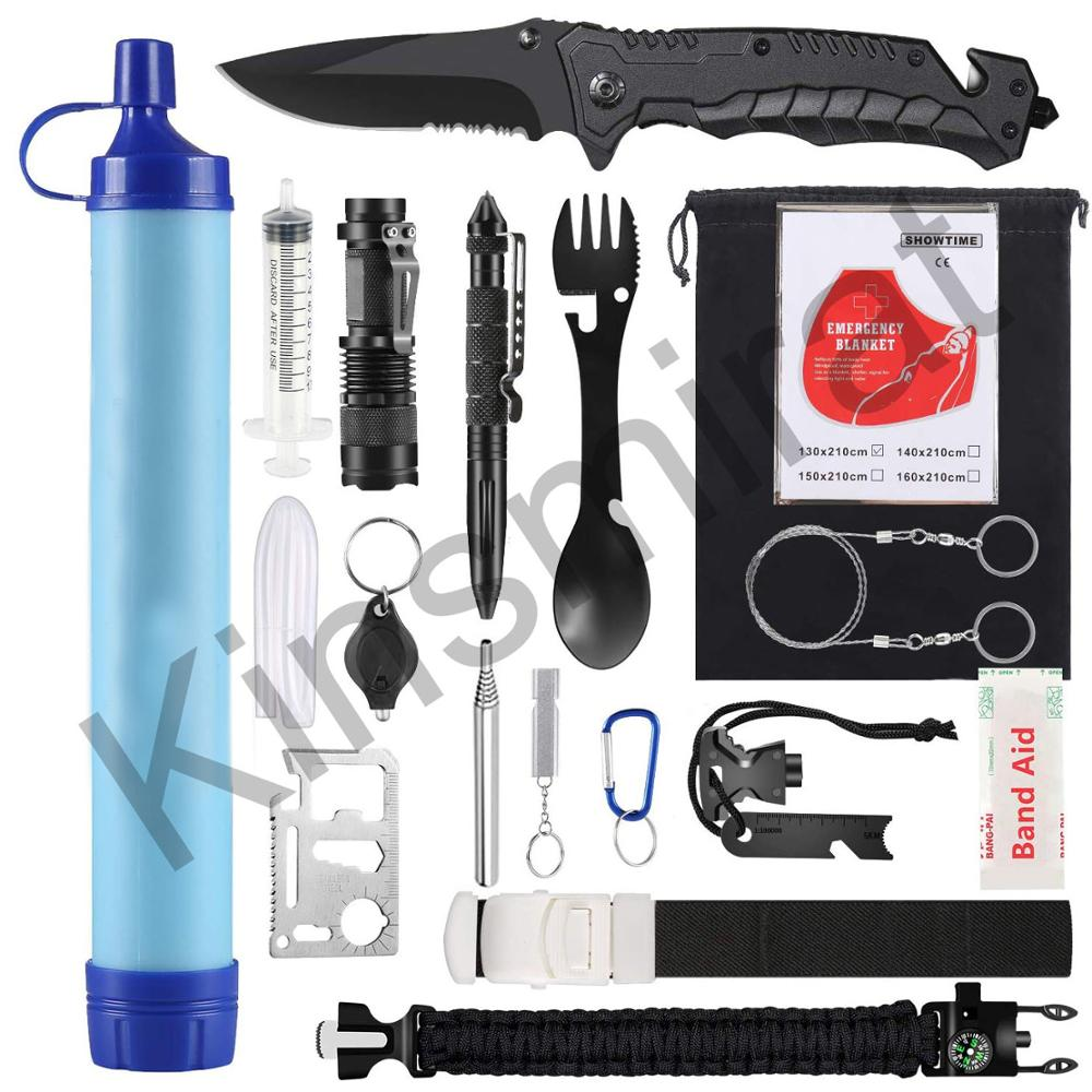 Camping Accessories Emergency Kits Outdoor Survival Gear Kits with Water Filter for Camping Hiking Adventures Backpack Fishing
