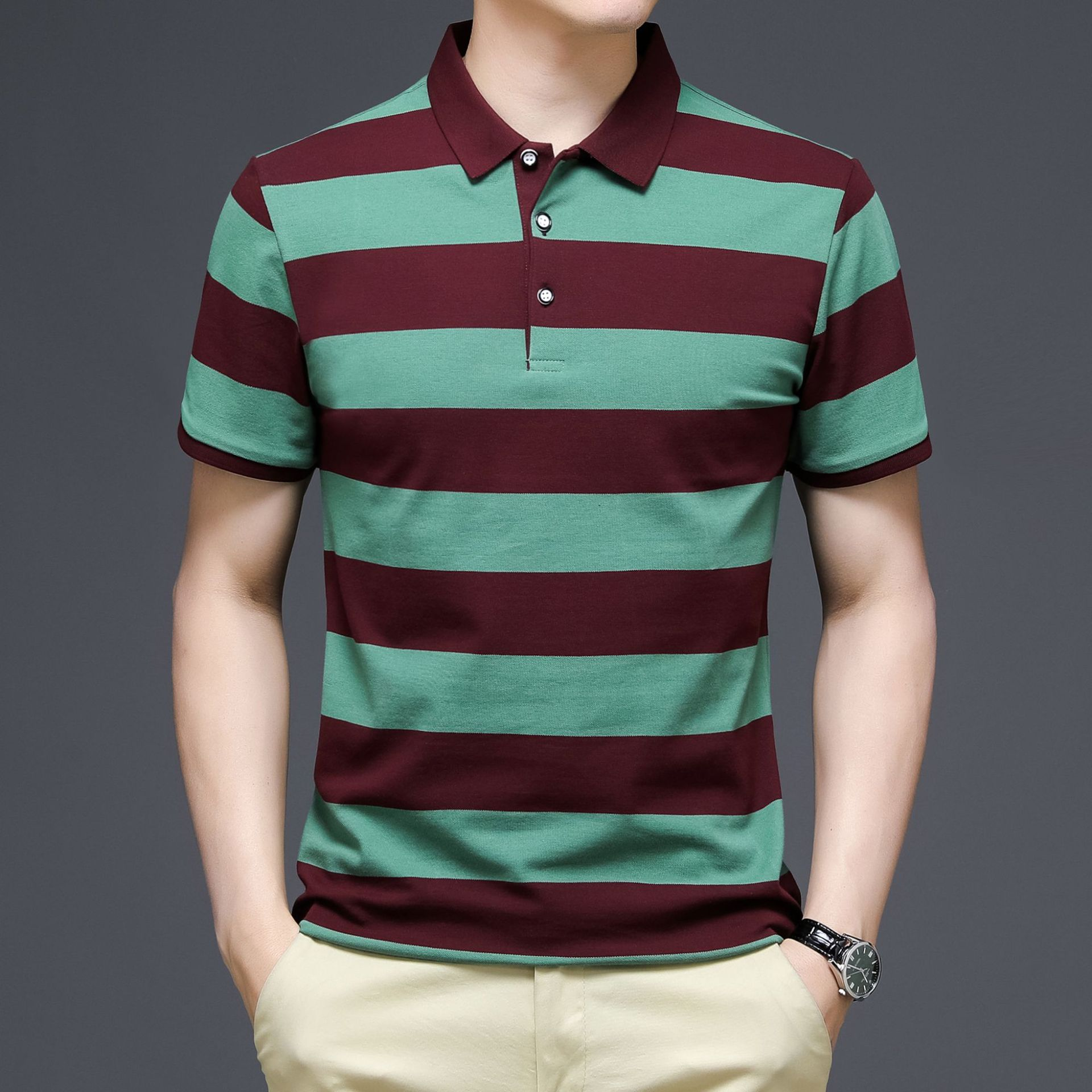 Summer mens clothing, color-stripe striped POLO shirt, business casual short-sleeved plus size shirt