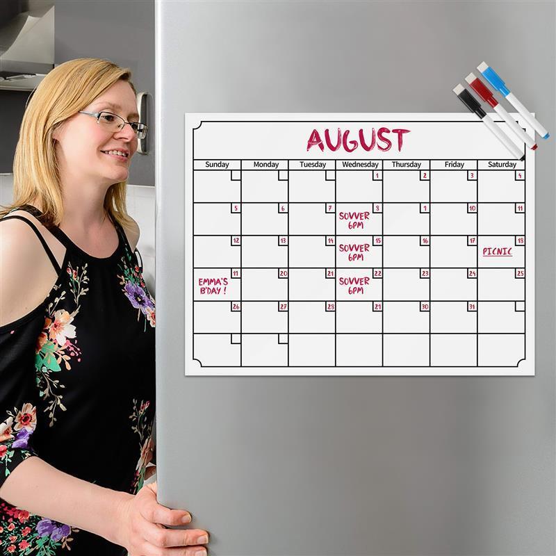 Magnetic Dry Erase Calendar for Fridge Large Monthly Desk Pad Planner for Refrigerator 2020-2021 Fridge Calendar Whiteboard