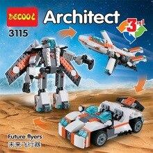 DECOOL 3115 Ville Createur 3 dans 1 Avenir volantes Robot bloques de construcción Pour Enfants Jouets Compatible 31034