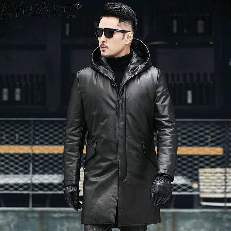 Ayunsu الرجال أسفل سترة معطف الشتاء الرجال الملابس بقرة حقيقية سترات من الجلد ملابس سميكة مقنعين سترة واقية Ropa Hombre LXR543