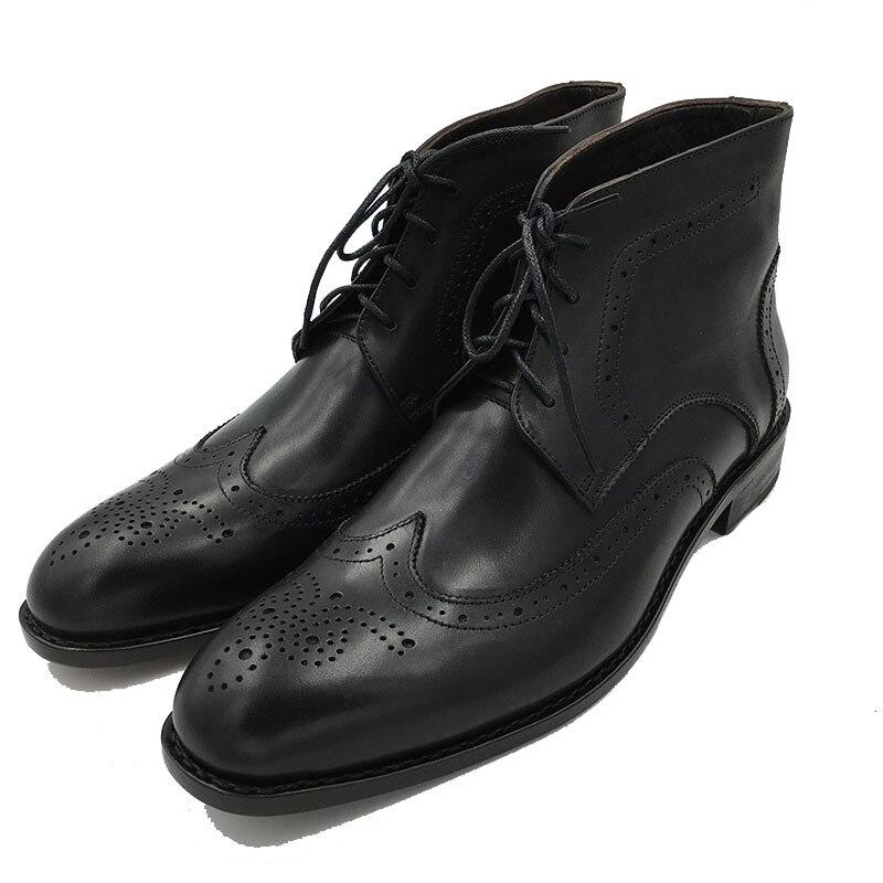 Sipriks حجم كبير 37 47 جلد طبيعي أسود البروغ أحذية ريترو رجالي حذاء من الجلد عالية قطع أحذية جوديير Welted الأحذية مخصص