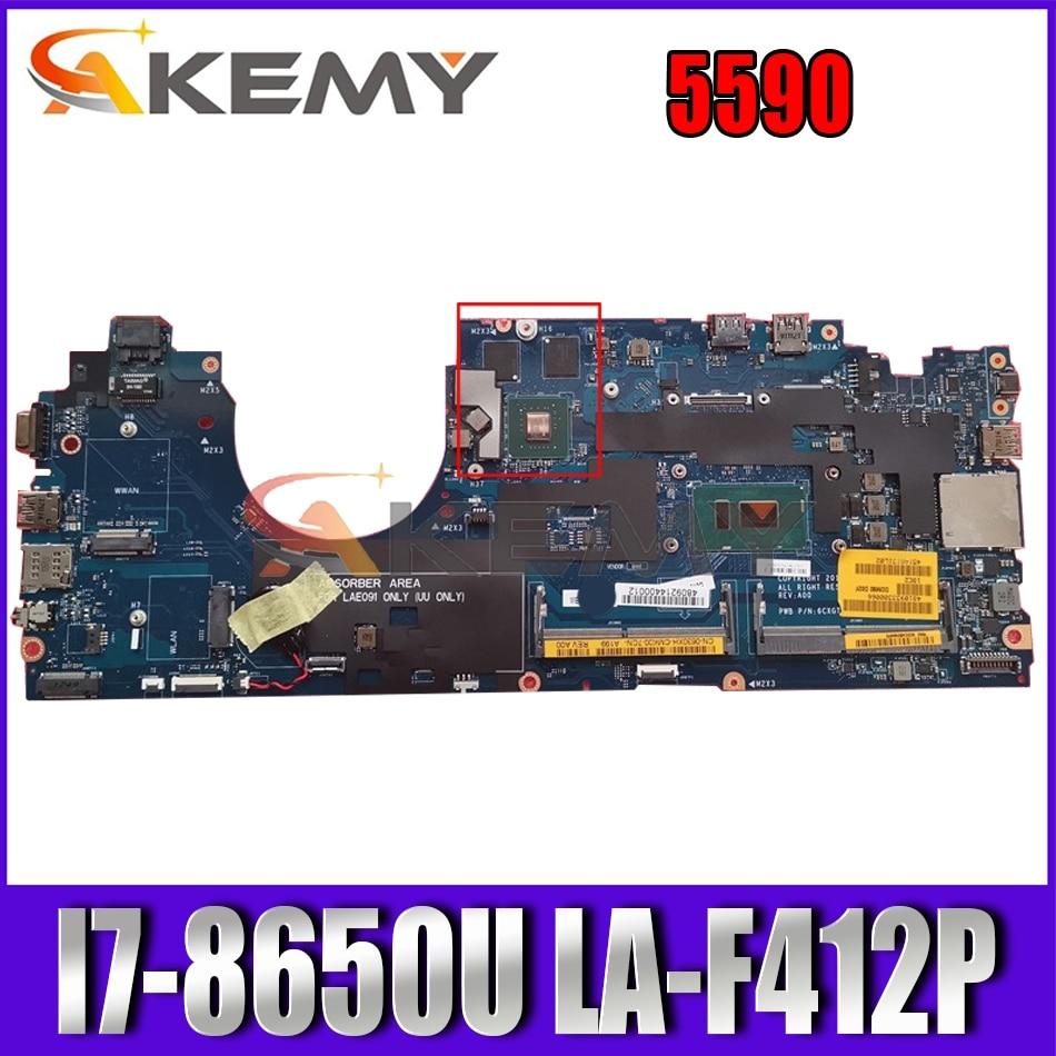 Akemy العلامة التجارية الجديدة DDM80 LA-F412P لأجهزة الكمبيوتر المحمول Dell Latitude 5590 اللوحة الأم i7-8650U CN-0630XH 630XH 6CXGT اللوحة الرئيسية 100% اختبارها