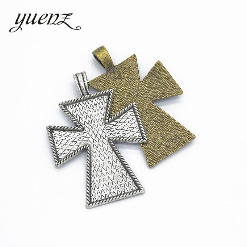 YuenZ 1 uds, venta al por mayor, colgante de Cruz de color plata antiguo para collar, joyería DIY, fabricación de 79*53mm T58