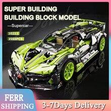 2021 MOC RC Car 3588Pcs Building Blocks Technical Lamborghinis Sian High-tech Series Bricks Model Bi