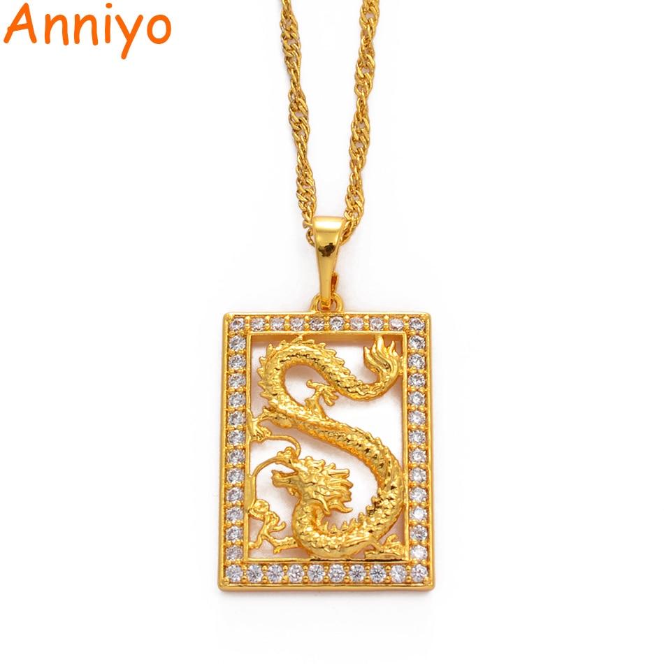 Collares de dragón Anniyo para mujeres chicas estilo chino joyería CZ Zirconia cúbica adornos para mascota símbolo de suerte colgante # 068904B