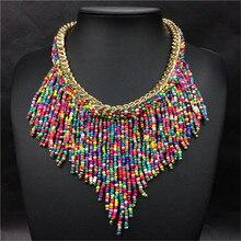 2020 bohème colliers mode pour les femmes bijoux Mujer tissé à la main Collier Long gland perles tour de cou colliers N20