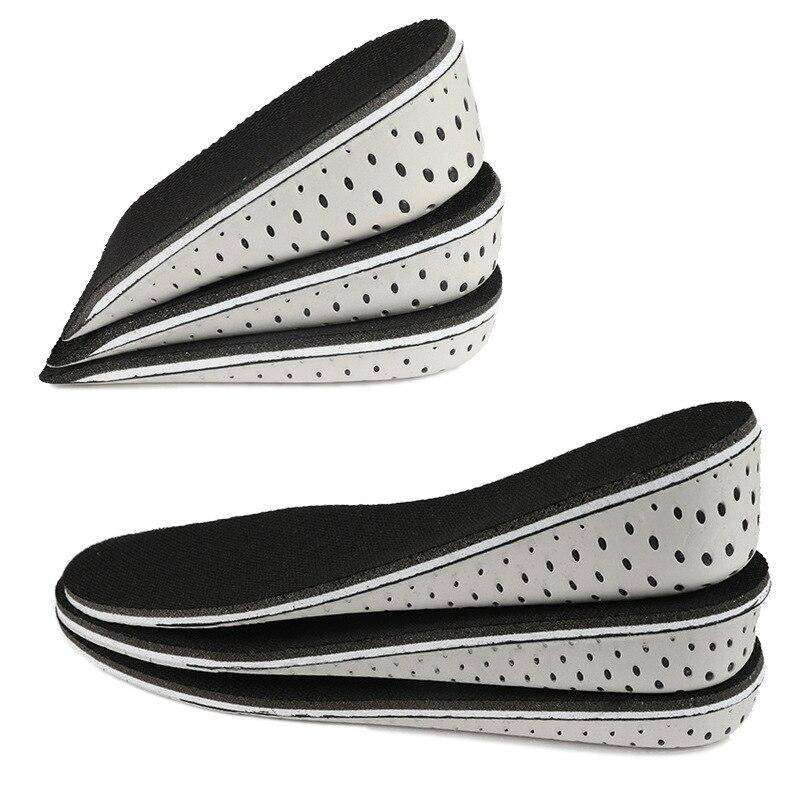 1 paire femmes hommes hauteur augmenter semelle intérieure respirant unisexe pleine demi semelles talon insérer chaussures de sport coussin coussin 2-4cm soins des pieds