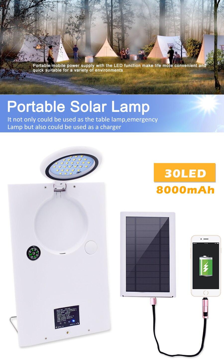 30 LED portátil Luz de energía Solar al aire libre impermeable luces de campamento luz nocturna 8000Mah cargador de teléfono móvil lámpara de mesa de escritorio