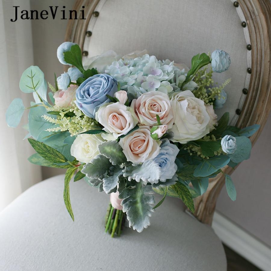 JaneVini 2020 Vintage Light Blue Champagne Wedding Flowers Bridal Bouquets Handmade Silk Roses Bride Summer Wedding Accessories