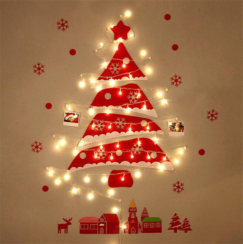 شجرة عيد الميلاد ضوء الجدار تزيين مُثبت ضوء الليل لتقوم بها بنفسك عيد الميلاد الحلي العشب أبواب نوافذ جو الزينة مصباح