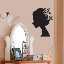 Autocollant Mural pour Salon de beauté   Autocollant pour Salon de coiffure fille avec visage, décoration de Salon de manucure, affiche artistique murale, autocollant WL643