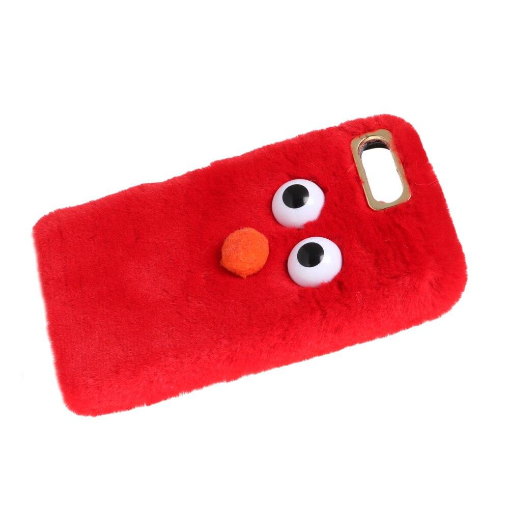 Grande olho macio capa de telefone de pelúcia bonito moda inverno quente à prova de choque caso de telefone protetor para apple iphone 7 plus/8 plus (vermelho)