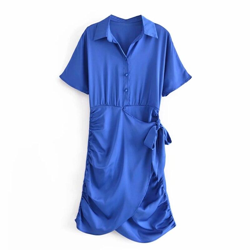 فستان نسائي صيفي قصير مزين بفيونكة وطيات فستان نسائي بأكمام طويلة فستان نسائي فضفاض موديل D7972
