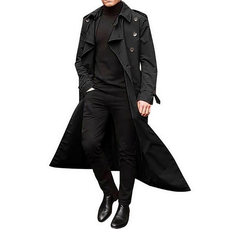 2021 Mens Fashion Trench Coats Autumn Men Long Jackets Coats Men Casual Solid Silm Fit Windbreakers Winter Warm Plus Size Coats