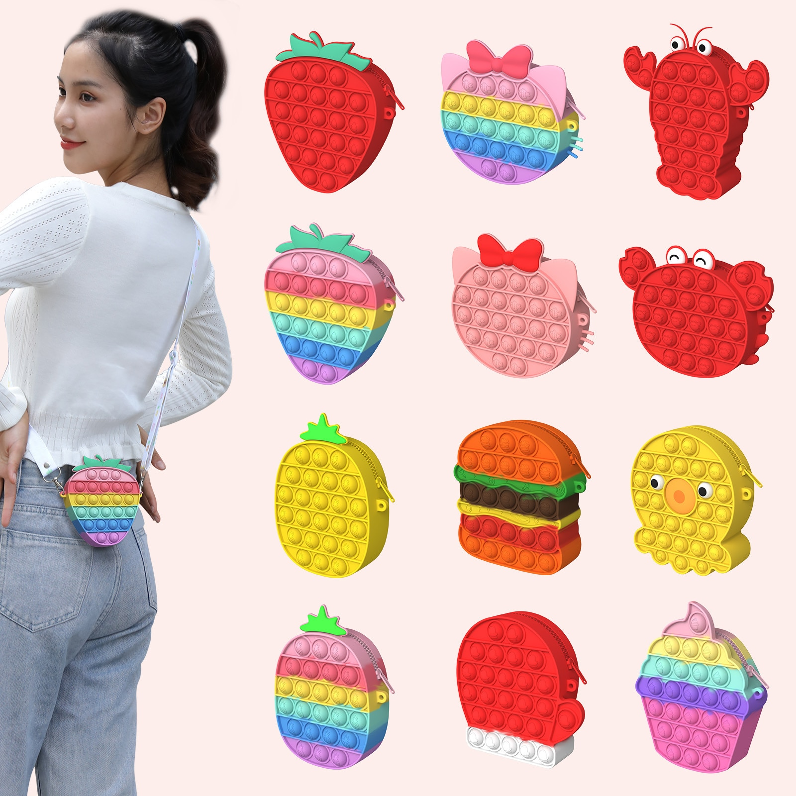 Macaron Bag Push Bubble Bag Silicone Reliver Puzzle Relaxing key Ring Bag Sensory Squeeze Girl Gift Antistress Decompression Toy