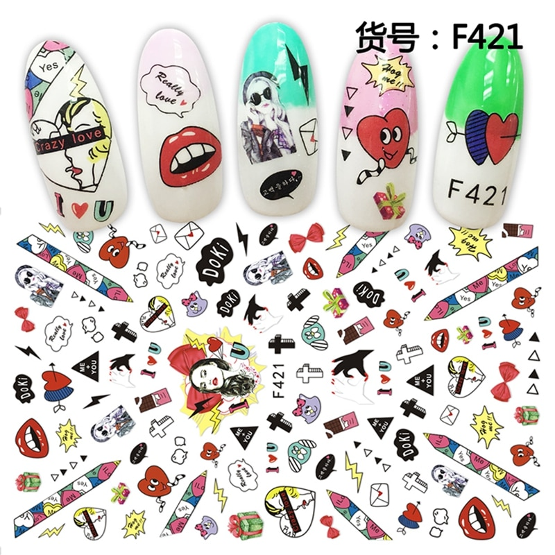 1pcs Retro Red Lip Letter Nail Stickers Fashion Nail Jewelry Pattern Water Transfer Paper DIY Manicure Decors Nail Art Decals