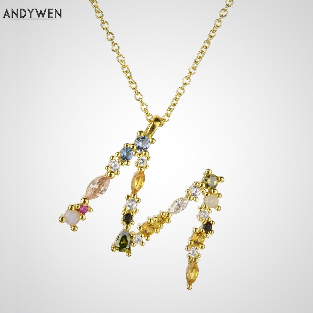 ANDYWEN 925 Sterling Silver Gold Leter M Pendant Initial F Alphabet Necklace Monogram Opals 2020 Wom