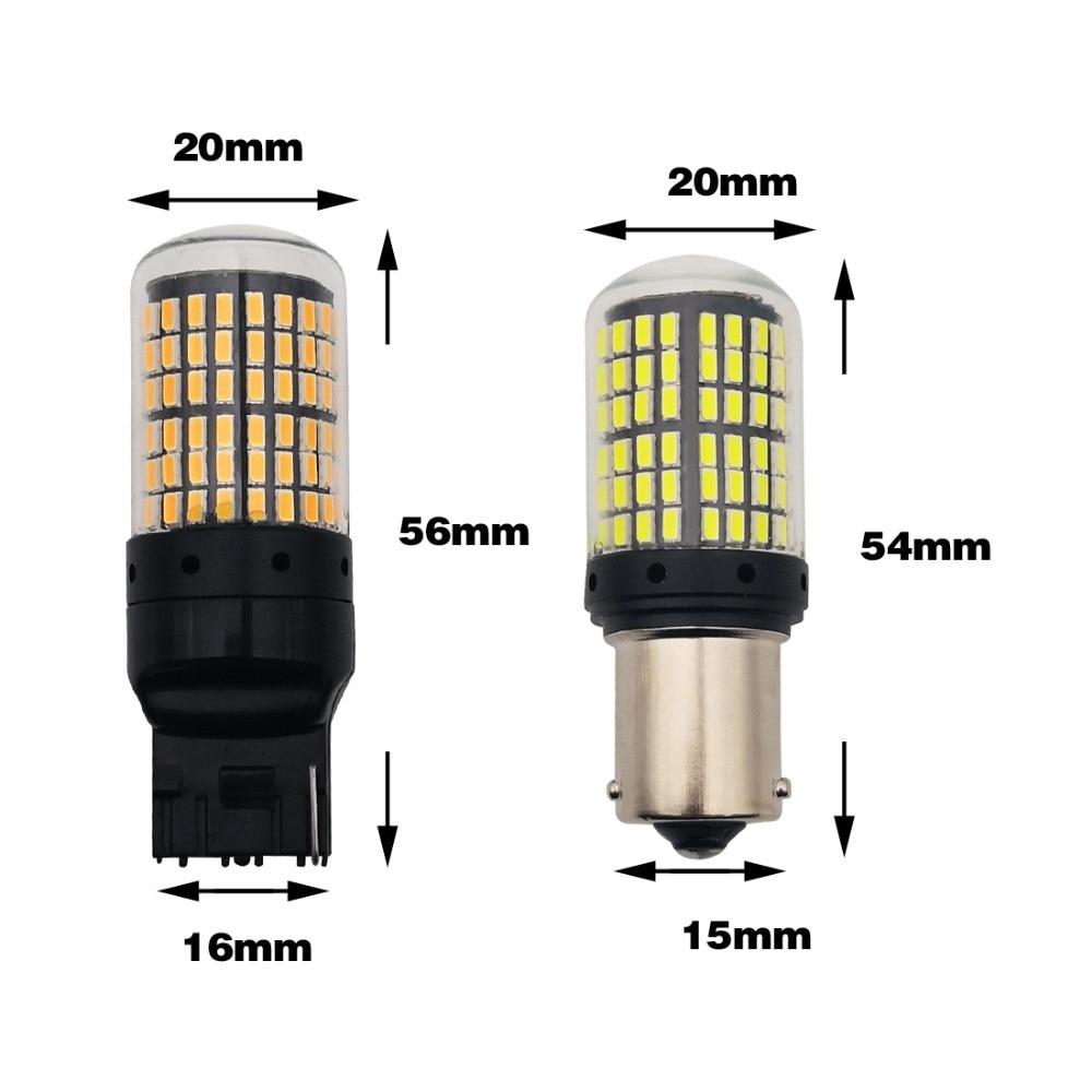 2pcs LED Signal Lamp 1156 BA15S P21W BAU15S PY21 Turn Signal Light 7440 W21Auto Rear CANBUS No Error Bulb Red Yellow White DC12V enlarge