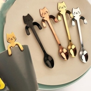 2021 Cute Spoon Stainless Steel Long Handle Coffee Spoons Flatware Hanging Spoon With Cartoon Cat Shaped Handles Drinking Tools