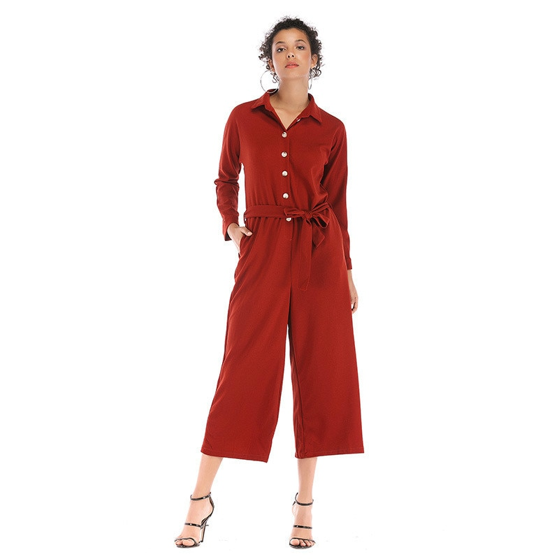 Mono de manga larga de chifón de otoño 2019 para mujer, Casual, con botones de solapa, pantalones holgados de pierna ancha para mujer