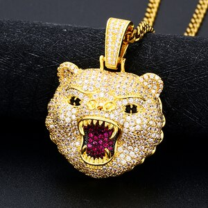 Leopard head Pendant Iced Out Bling Pave Cubic Zirconia Pendant Necklace For Men Hip Hop Jewelry Street Rock Fashion Gift