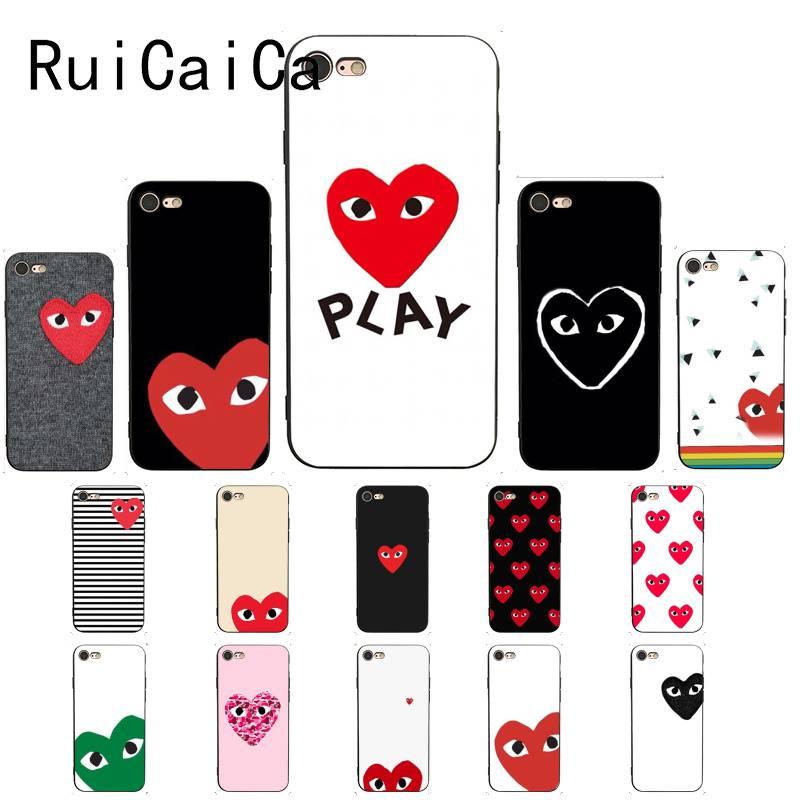 Мягкий черный чехол для телефона RuiCaiCa play heart для iPhone 8 7 6 6S Plus X XS MAX 5 5S SE XR 11 11pro promax