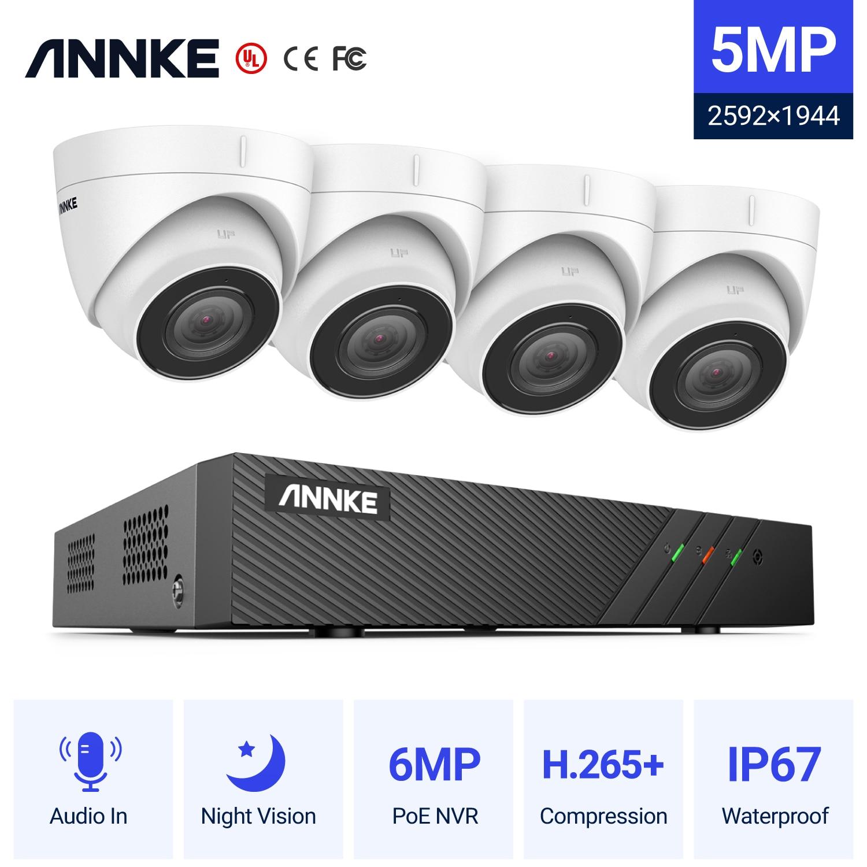 Система видеонаблюдения ANNKE, 8 каналов, FHD, 5 Мп, POE, H.265 + 6 МП, NVR, Ip-камера наблюдения 5 Мп с записью звука