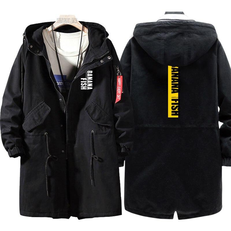 Nueva sudadera estilo pez plátano Anime Ash Lynx gabardina hombres moda algodón cremallera abrigo chaqueta