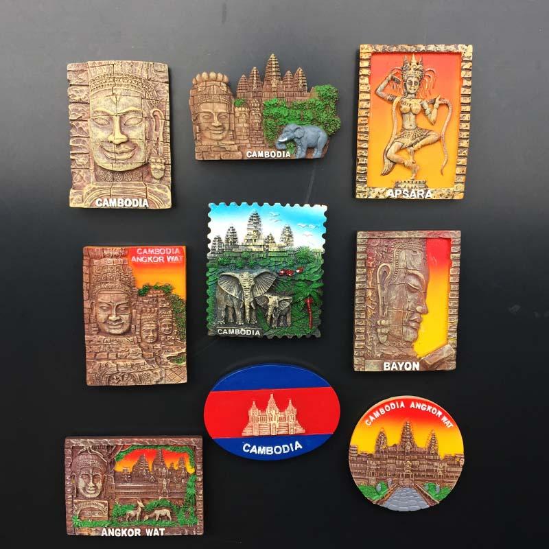 Patrimonio Natural de Angkor Wat, Camboya imán de nevera souvenir 3d resina de color artesanía magnético refrigerador pasta Decoración