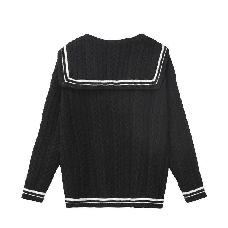 Winter  2021 Sweater Women Sweater Black White Lapel Neck Long Sleeve Fashion Pullover  S ML enlarge