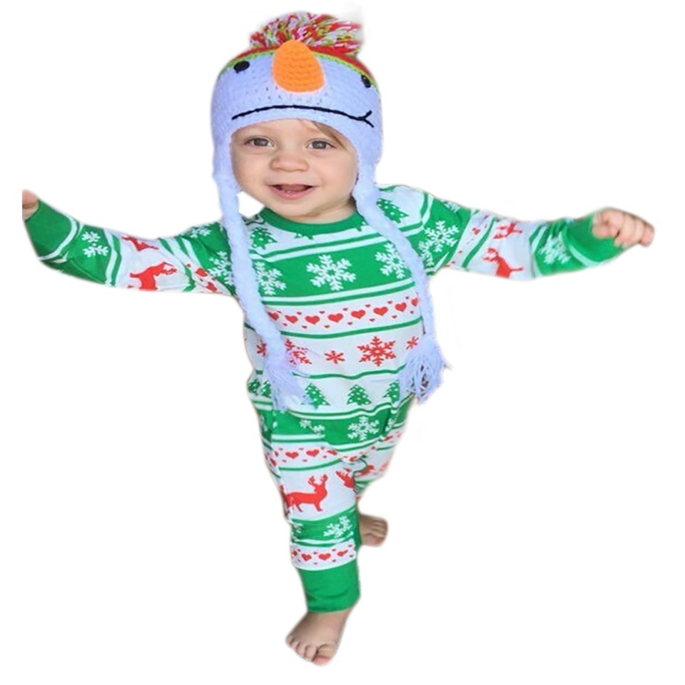2020 New Baby Girls Boys Christmas Romper Newborn Red Plaid Reindeer Jumpsuit Kids Winter Pajamas Kids Christmas Clothes 50