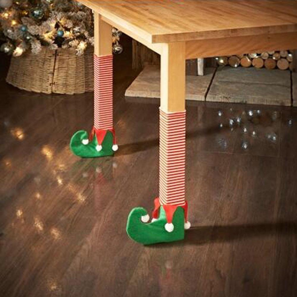1 pc cadeira de natal pernas conjunto mesa decoração festa jantar bonito dos desenhos animados imagem boutique natal cadeira capa almofada t2