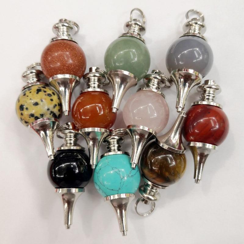 Moda 10 Uds. Piedra Natural cristal Agates equilibrio Reiki péndulo de radiestesia Circular cono encanto colgante para hombres y mujeres