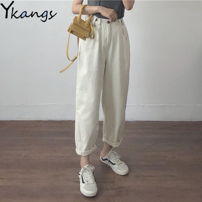 بنطلون جينز أبيض فضفاض للنساء بخصر عالٍ مقاس كبير جينز أمي أسود ربيعي بيج أزرق جينز بنانا ملابس خروج