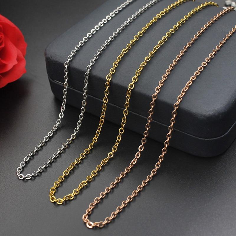 Collar de cadena para hombres y mujeres collares de cadena blanco amarillo oro rosa Color 40cm + 8cm extensor accesorios de joyería de moda