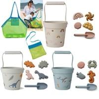 6pcs bath swim toy children beach toys kit baby summer digging sand beach et toys rubber sand mold s sets kids