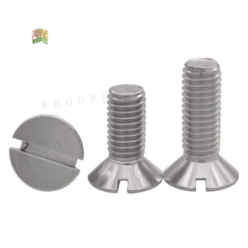 10/50pc M1.6 M2 M2.5 M3 M4 M5 M6 M8  304 A2-70 stainless steel GB68 thread metric slotted flat head machine countersunk screw