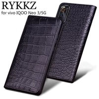 crocodile genuine leather case for vivo iqoo neo 3 5g slot holder cases for vivo iqoo pro flip cover