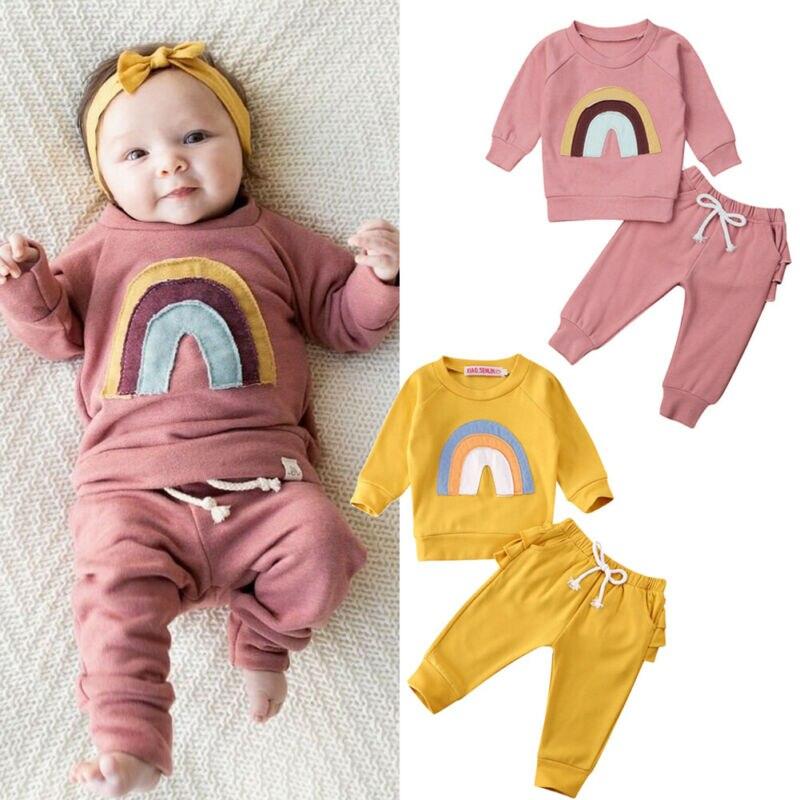 2020 детская Радужная одежда для маленьких девочек розовая и желтая футболка с длинными рукавами Топы и штаны с оборками спортивный костюм из...
