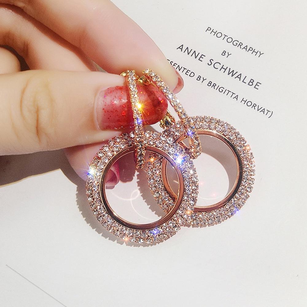 Pendientes de lujo para mujer, pendientes de joyería con cristales de estrás y Círculo dorado de moda, marca popular top personalidad 2020