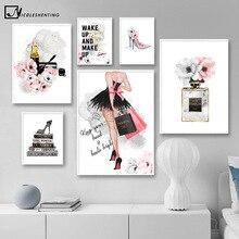 Affiche de maquillage à fleurs rouges à lèvres   Parfum à talons hauts, mode affiche florale toile peinture artistique murale, décoration moderne de chambre de fille