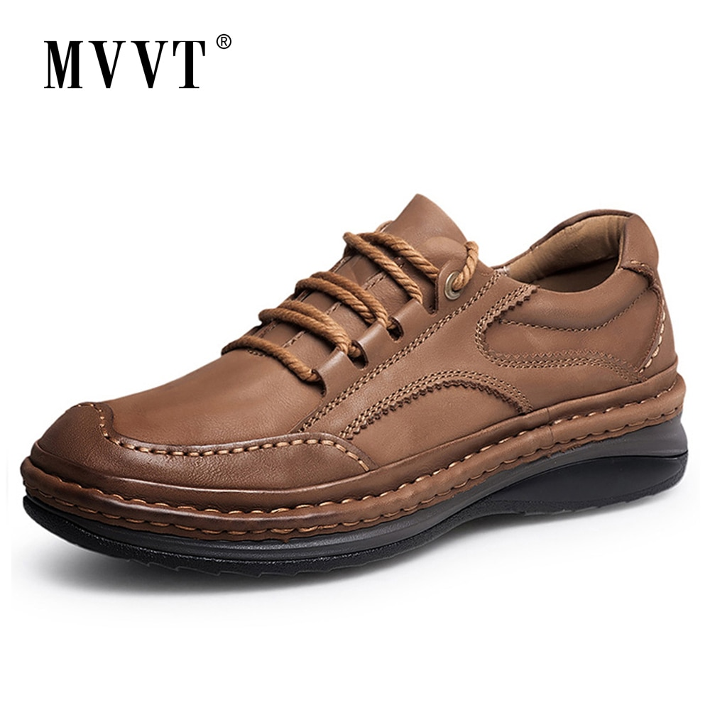 MVVT Winter Retro Men Boots Top Quality Genuine Leather Boots Men Winter Ankle Boots Fashion Platform Men Shoes