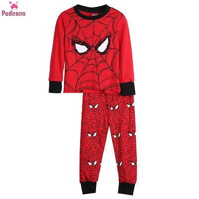 Пижамный комплект из 2 предметов, Детская Пижама для мальчиков, футболка с принтом Человека-паука Топ и штаны, пижама ночнушка Пижама, комплекты одежды