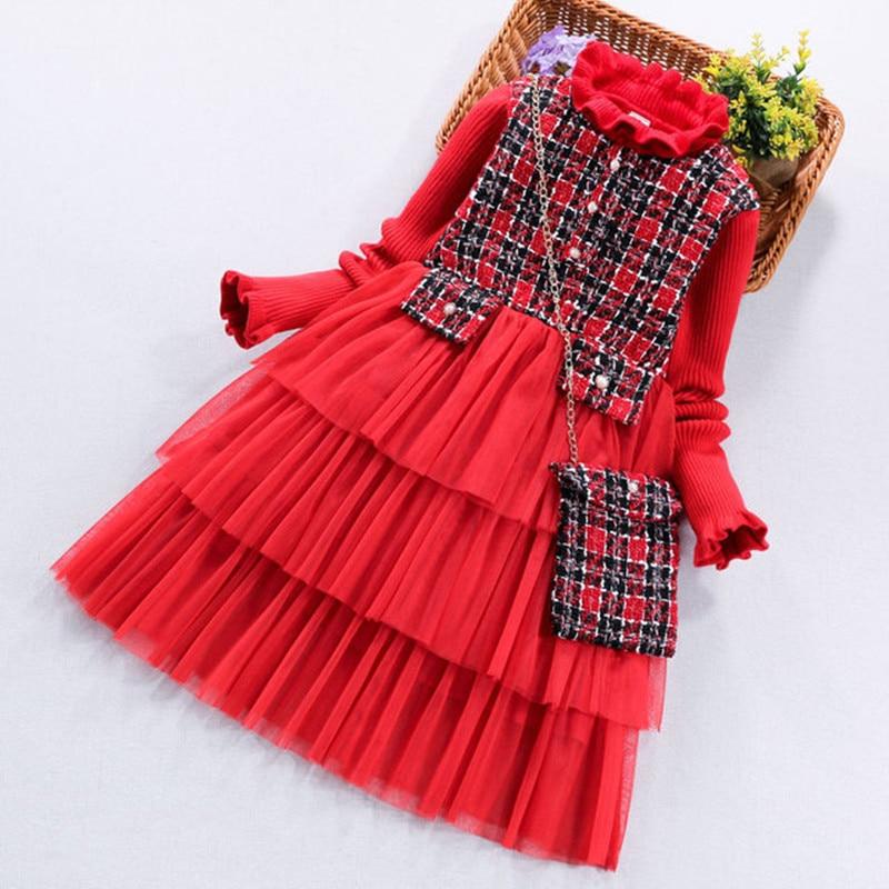 جديد وصول 2020 الاطفال فتاة الملابس الأحمر محبوك سترة فستان مع منقوشة حقيبة طويلة الأكمام موضة كبيرة الفتيات الطبقات فستان الأطفال