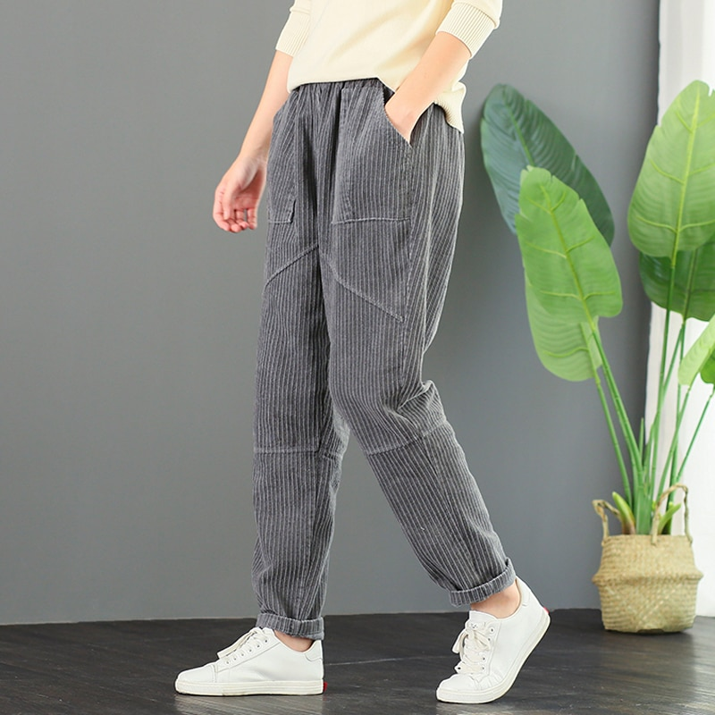 Corduroy Trousers Autumn and Winter New Artistic Retro Loose Versatile Large Size Slimming Harem Pan