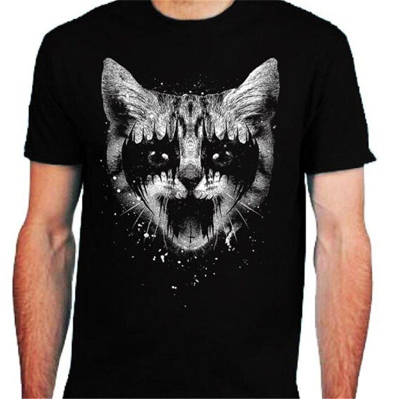 Metal Kitty T camisa hombres S-2Xl-3XL motorista beso basculante negro Punk la muerte de algodón camiseta a medida camisa