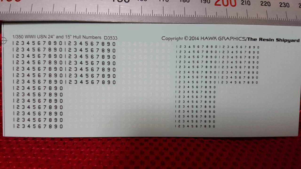 1/700&1/350 Ultra-precision Detail Numbers Decal for U.S Ship Wharf Tugboat Oil Tanker