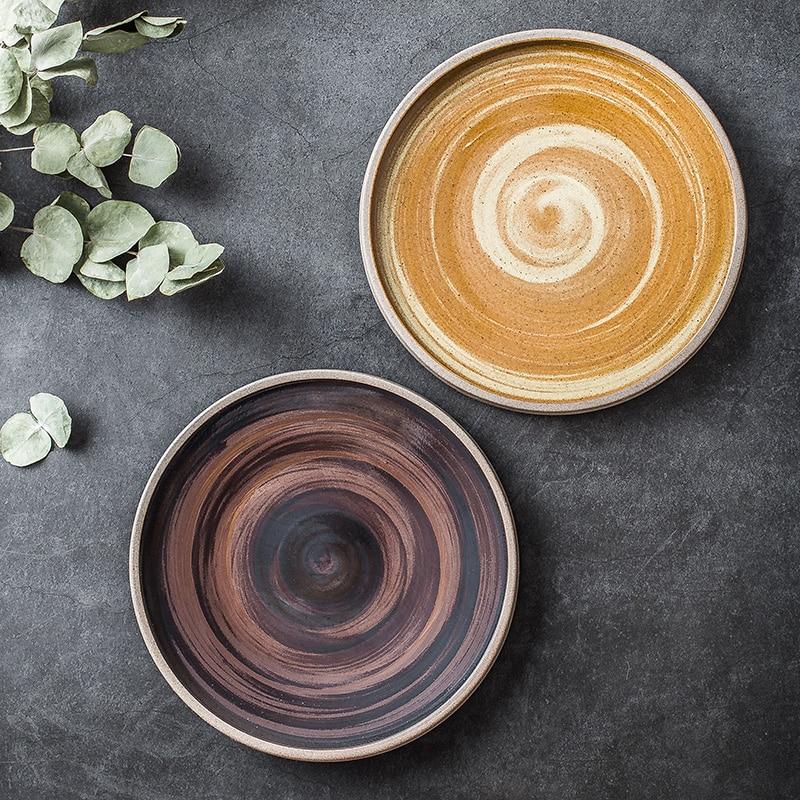 أطباق ستيك غربية من السيراميك على الطريقة اليابانية ، أدوات مائدة ذات خيوط عتيقة ، للمنزل ، الحلوى ، السوشي ، الإفطار ، المطاعم